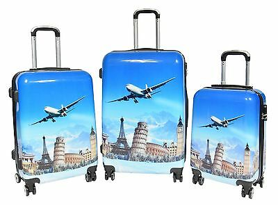 Suitcase Travel Luggage Bags 4 Wheel Strong ABS Landmarks Lightweight With Locks