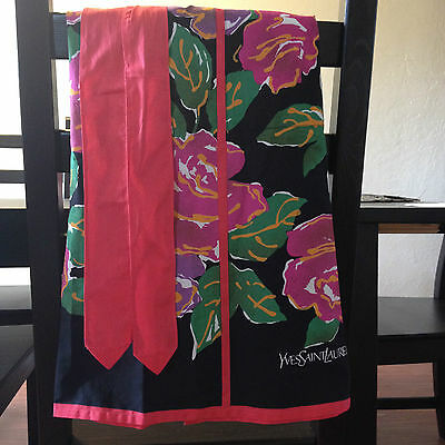 RARE Vintage Yves Saint Laurent Cotton Fabric Apron Roses 2-Pocket Roses NWT
