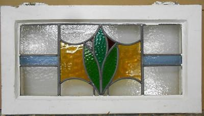 "OLD ENGLISH LEADED STAINED GLASS WINDOW TRANSOM Abstract Floral 24.25"" x 13"""