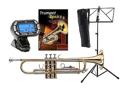 Bb Brass Trumpet Set Mouthpiece Clip Tuner Metronome Music Stand Transport Case