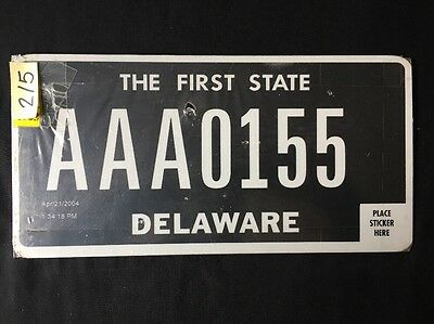 2004 Delaware License DMV Plate Voided Edition AAA 0155 Sale