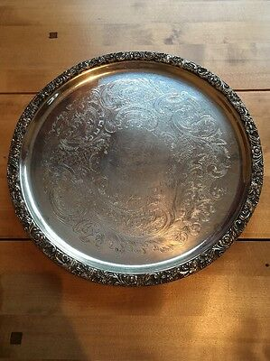 Silver Plated Ornate Engraved Large Edged Tray Plate Chased Sheffield Vintage