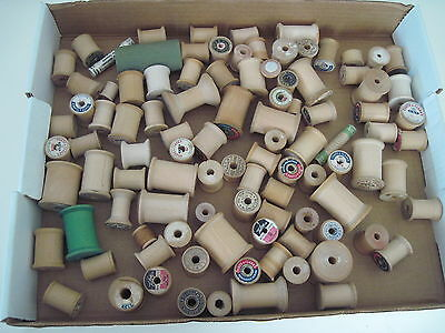LOT OF 75 VINTAGE OLD WOODEN THREAD SPOOLS Various Labels+ ONT Clark's label OLD