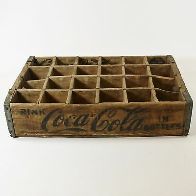 Vtg Coca-Cola Coke Wood Bottle Crate Case Carrier 24 Divided 1964