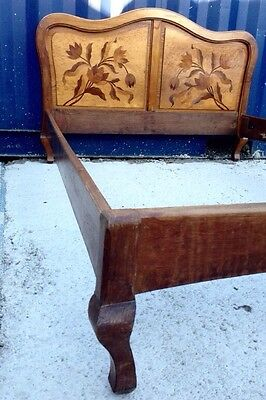 Antique French Early 20th C Bed Marquetry Floral Cabriole Legs