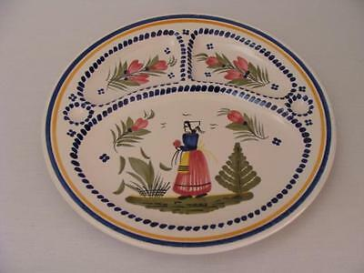 """Hb Quimper France ~ Breton Woman ~ Grill / Divided Plate 9-1/2"""""""