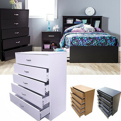 Wide Chest Of 5 Drawers Bedroom Furniture Solid Bedside Storage Cabinet Unit