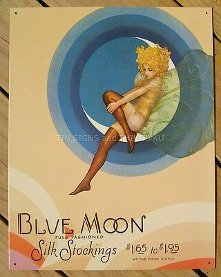 Blue Moon Silk Stockings TIN SIGN blonde fairy vtg hosiery ad art wall decor 245