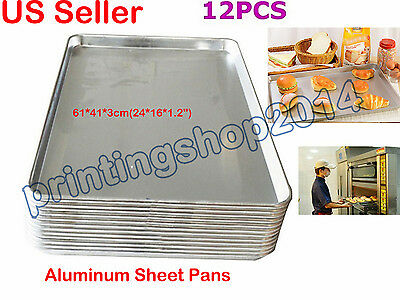 "12PCS 24 x 16"" Heavy Duty Commercial  Aluminum Sheet Pans Baking Bun Pan"