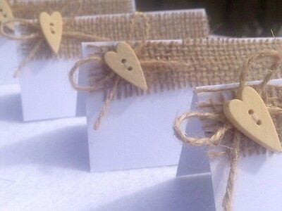 Set Of 10 Natural Hessian Wedding Place Cards With Twine Bow & Wooden Heart