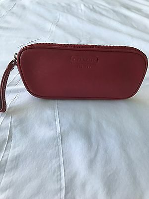 Vintage Coach Red Leather Zippered Eyeglass Case