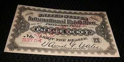 1876 International Exhibition Philadelphia Package Ticket Fifty Cents