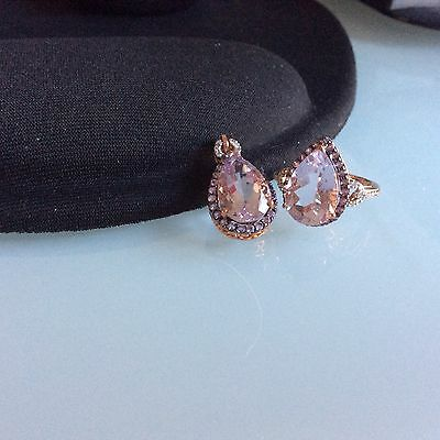Pink amethyst And Diamond rose gold Ring and pendant