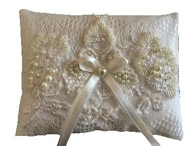 Luxurious Wedding Ring Pillow Cushion Holder Bearer Antique Lace Ivory Pearls