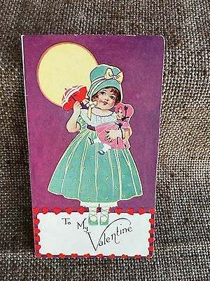 Antique Vintage 1930's Litho Valentine Card, Girl in Bonnet Carrying Her Doll
