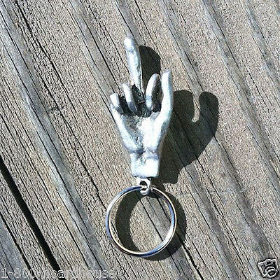 Original NAUGHTY BAWDY MIDDLE FINGER FUNNY SILVERTONE 1960s Keychain NOS