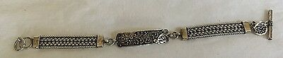 LOIS HILL Silver Toggle Weave ID Plate Bracelet Scroll Authentic Used great cond