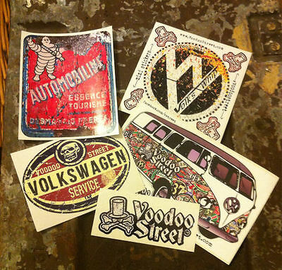 Petrol can, antique sticker pack, patina, VW, vintage, Camper, GT, quality print