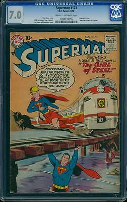 Superman 123 CGC 7.0 Silver Age Key Comic Prototype Supergirl Issue L@@K