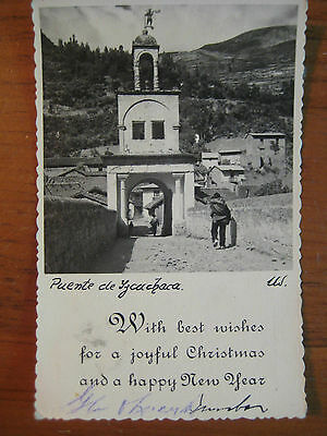Vintage Real Picture Christmas Postcard Peru Postmarked 1949  Serrated Edges