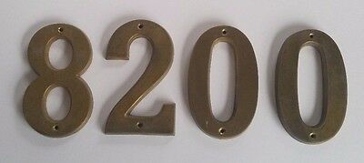 Lot of 4 Vintage  Mid Century Brass House Numbers #s  8 2 0 0 and 8 Screws