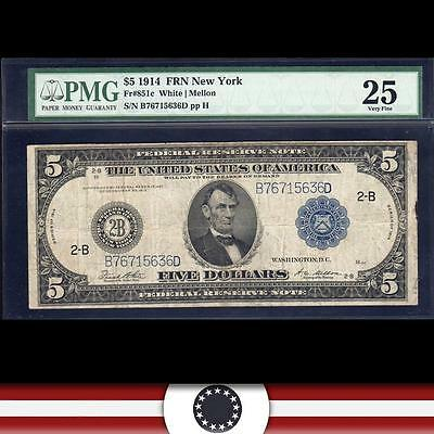 1914 $5 NEW YORK Federal Reserve Note FRN  PMG 25  Fr 851c  B76715636D