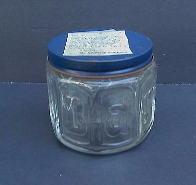 Vintage Embossed Barbasol Shaving Cream Clear Glass Jar with Blue Lid