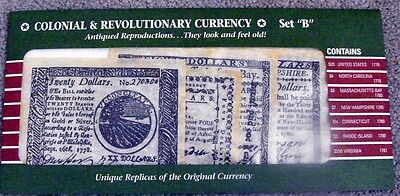 Antiqued Reproductions of Colonial & Revolutionary War Currency Set B