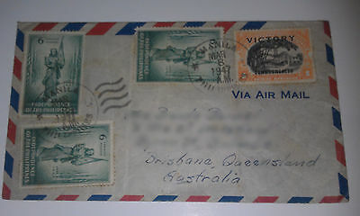 Philippines envelope 1946 Independence stamps overstamped VICTORY COMMONWEALTH