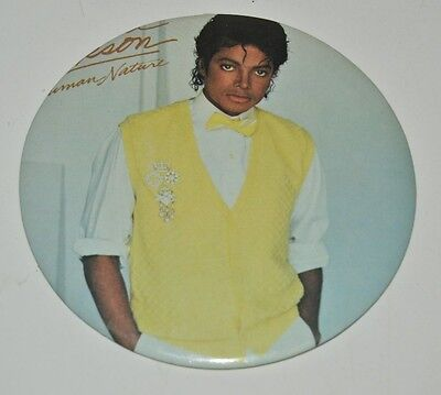 Vintage Large 1983 MICHAEL JACKSON Concert Souvenir Button Pin Human Nature 6""