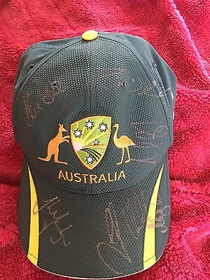 Australian Signed One Day Cap By 9. Smith, 2 Marshs, Starc, Hazelwood, Maxwell
