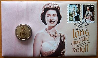 2015 Australia Long May She Reign Queen Elizabeth  Pnc Stamp & $1.00 Coin Cover