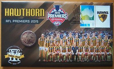 2015 Australia Afl Premiers Hawthorn  Pnc Stamp & $1.00 Coin Cover