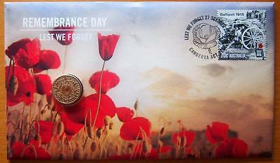 2015 Australia Remembrance Day Lest We Forget Pnc Stamp & $2.00 Coin Cover