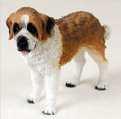 SAINT BERNARD DOG Figurine Statue Hand Painted Resin Gift Pet Lovers ROUGH COAT