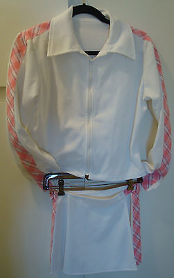 NEW tennis skirt with matching jacket&pink/blue/white pattern accent.Flattering!