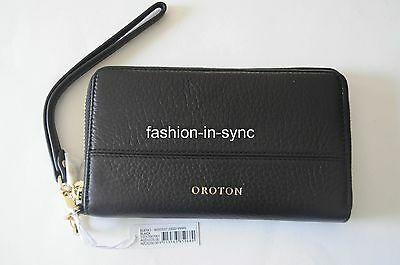 OROTON Bueno Wristlet Phone Pouch Clutch Wallet Black Leather New RRP $225.00