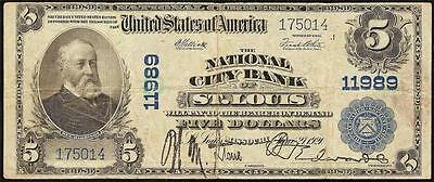 Large 1902 $5 St Louis Missouri National City Bank Note Currency Big Paper Money