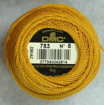 DMC Perle 8 Cotton 10g Ball #783 MEDIUM TOPAZ, 80m