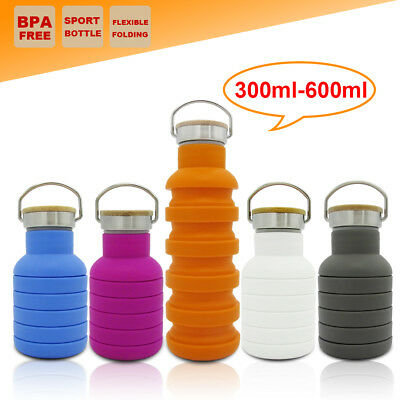 Collapsible Camping Water Bottle Folded Gym Outdoor Office Outback School Kettle