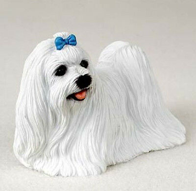 MALTESE DOG Figurine Statue Hand Painted Resin Gift Pet Lovers