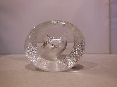 Mats Jonasson Signed Numbered Crystal Art Glass Fox Coyote Paperweight Figurine