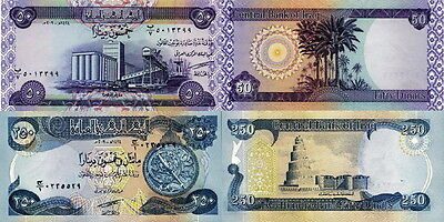 IRAQ - Lot Lotto 2 banconote 50/250/ Dinars 2003 FDS - UNC