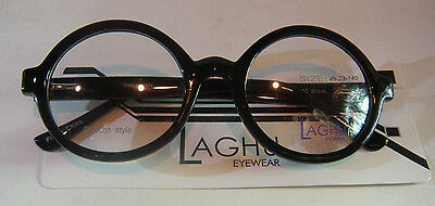 Vintage Style Laghu 3269 Black 49/23 Round Eyeglass Frame New/Old Stock
