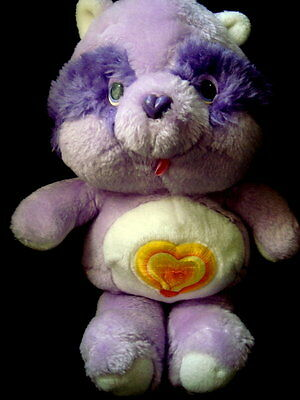 vtg care bear cousin bright heart racoon plush kenner 1984 purple