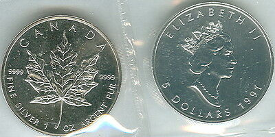 1991 Canadian Maple Leaf .9999 Silver 1 oz. 5 Dollar Coin in Original Package