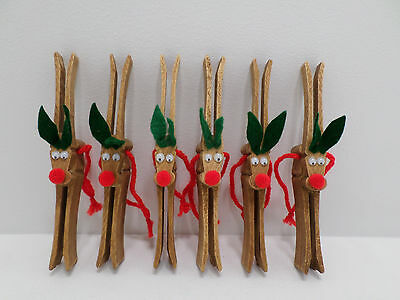 Christmas Tree Ornaments Six Clothes Pin Reindeer