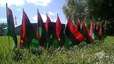 "5 RBG Pan-African American 12x18 Inch Polyester Flag with 24"" Stick Black Power"