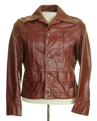 Vtg 70's BROWN LEATHER MOTORCYCLE Fight Club JACKET Reed 38