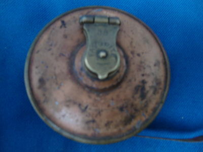 Old Antique Brass Tape Measure 33' Favorite 1890s with Cloth Tape rare